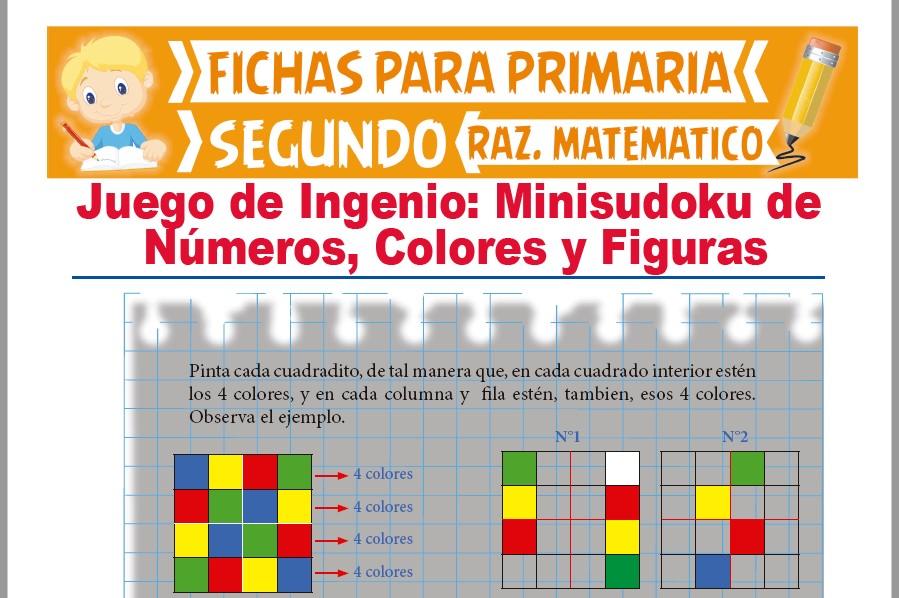 Ficha de Minisudoku de Números y Figuras para Segundo Grado de Primaria