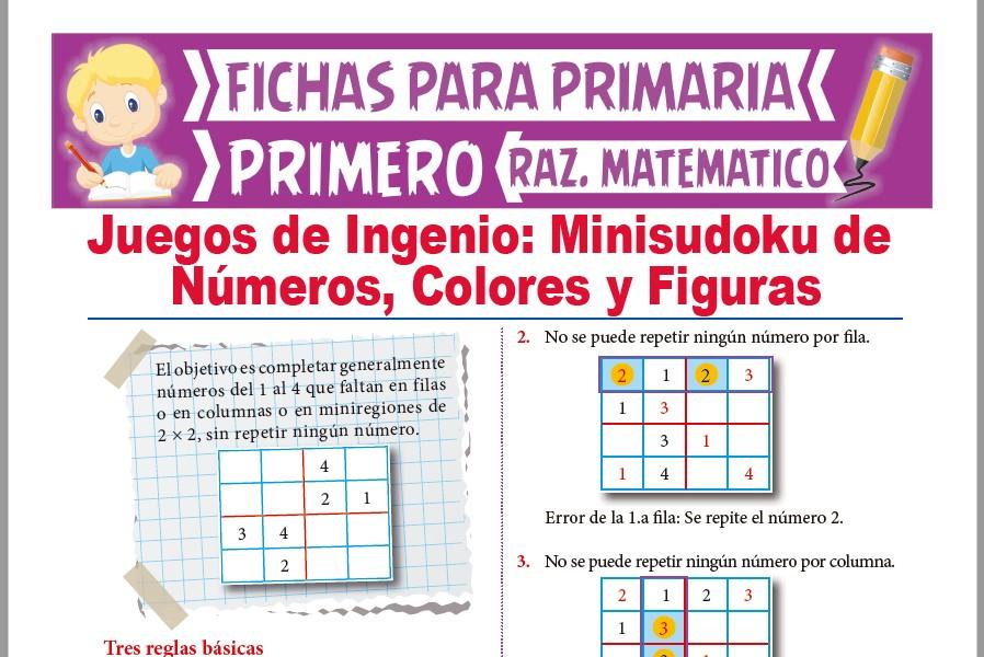 Ficha de Minisudoku para Niños para Primer Grado de Primaria