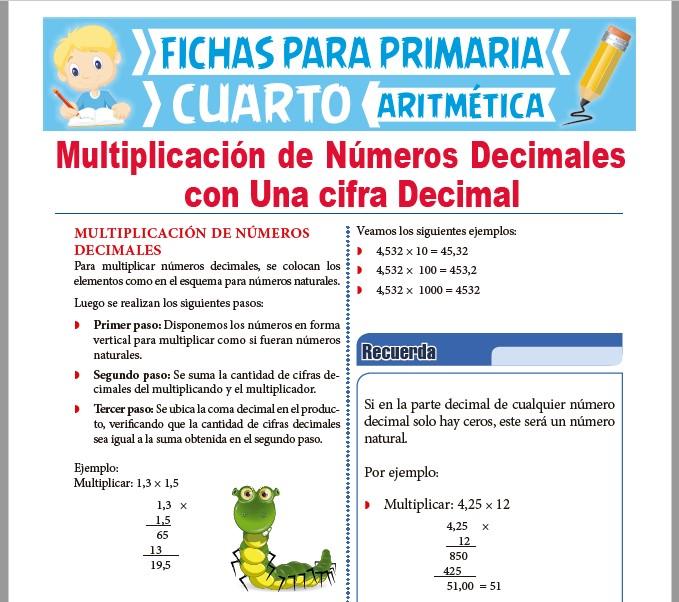 Ficha de Multiplicación de Decimales con una Cifra Decimal para Cuarto Grado de Primaria