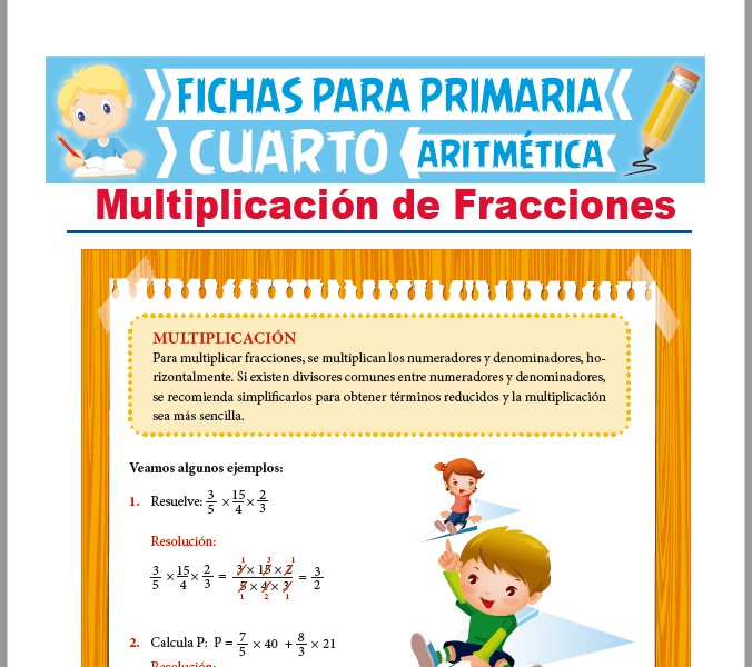 Ficha de Multiplicación de Fracciones para Cuarto Grado de Primaria