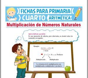 Ficha de Multiplicación de Números Naturales para Cuarto Grado de Primaria
