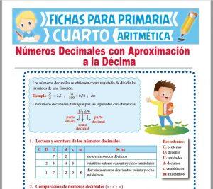 Ficha de Números Decimales con Aproximación a la Décima para Cuarto Grado de Primaria