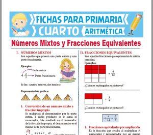 Ficha de Números Mixtos y Fracciones Equivalentes para Cuarto Grado de Primaria