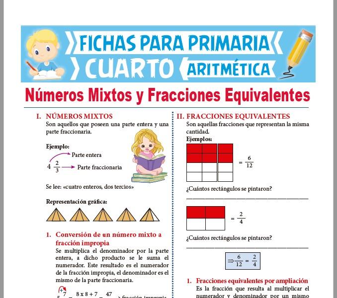 Números Mixtos y Fracciones Equivalentes para Cuarto de Primaria