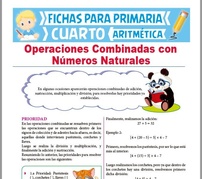 Operaciones Combinadas con Números Naturales para Cuarto Grado
