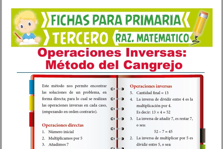 Ficha de Operaciones Inversas o Método del Cangrejo para Tercer Grado de Primaria