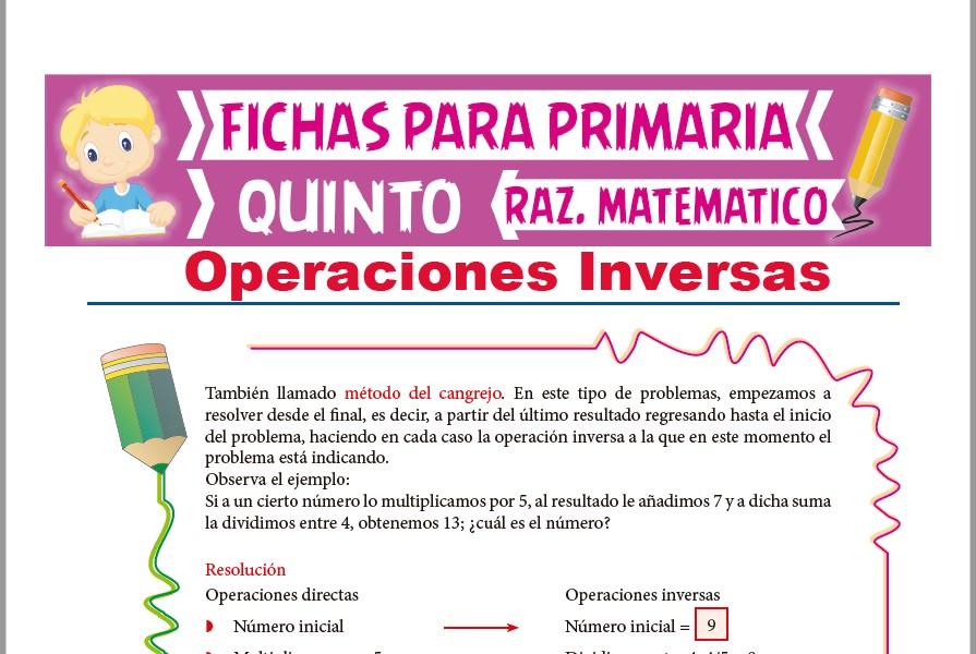 Ficha de Operaciones Inversas para Quinto Grado de Primaria