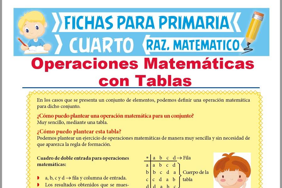Operaciones Matemáticas con Tablas para Cuarto de Primaria | 2019