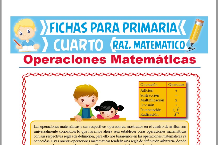 Operaciones Matemáticas para Cuarto de Primaria | Actividades – 2019