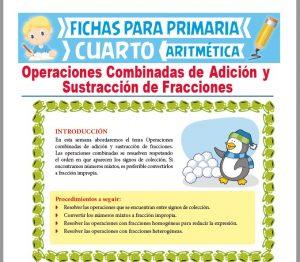 Ficha de Operaciones de Adición y Sustracción de Fracciones para Cuarto Grado de Primaria