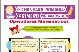 Ficha de Operadores Matemáticos para Niños para Primer Grado de Primaria