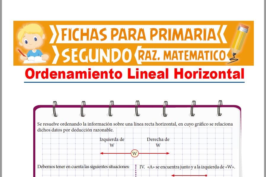 Ficha de Ordenamiento Lineal Horizontal para Segundo Grado de Primaria