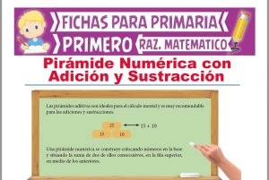 Ficha de Pirámide Numérica de Adición y Sustracción para Primer Grado de Primaria