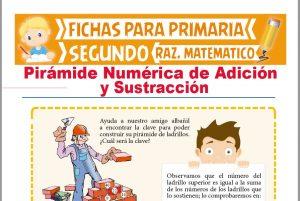 Ficha de Pirámide Numérica de Suma y Resta para Segundo Grado de Primaria
