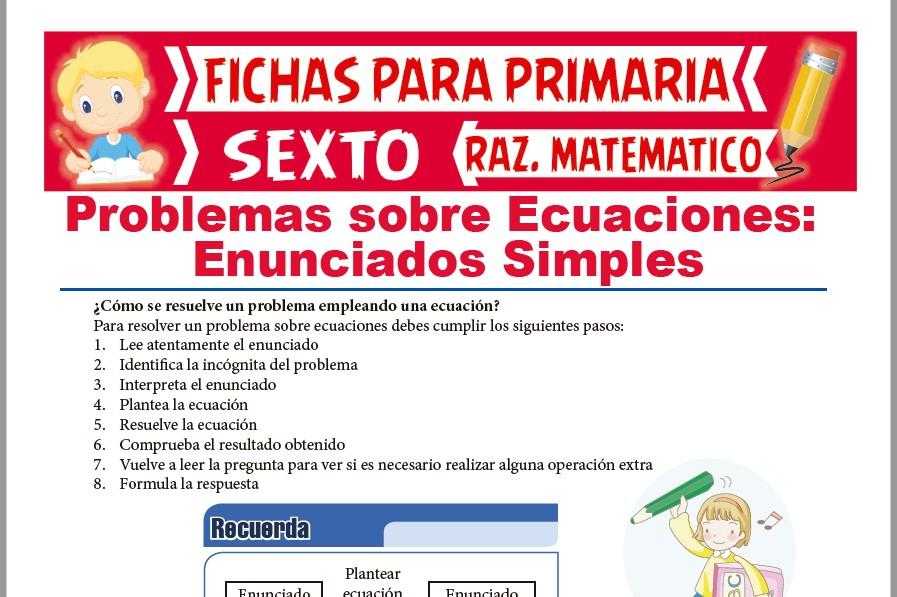 Ficha de Planteo de Ecuaciones para Sexto de Primaria