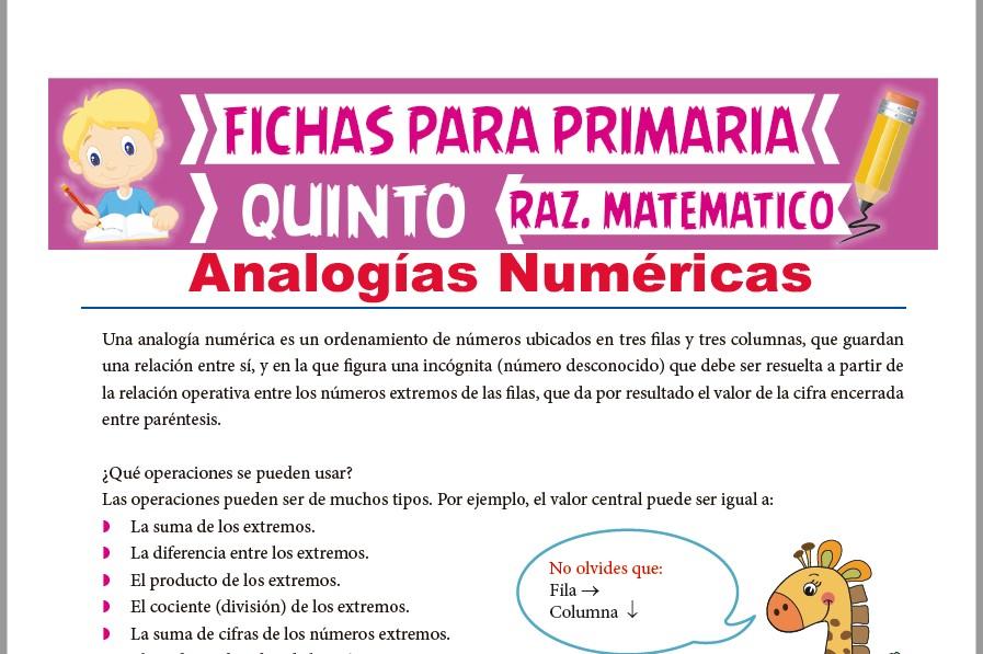 Ficha de Práctica de Analogías Numéricas para Quinto Grado de Primaria