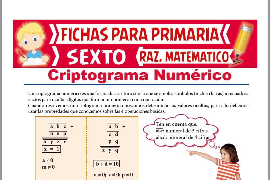 Ficha de Práctica de Criptograma Numérico para Sexto de Primaria