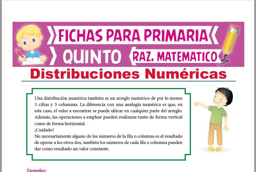 Ficha de Práctica de Distribuciones Numéricas para Quinto Grado de Primaria