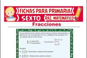 Ficha de Práctica de Fracciones para Sexto de Primaria