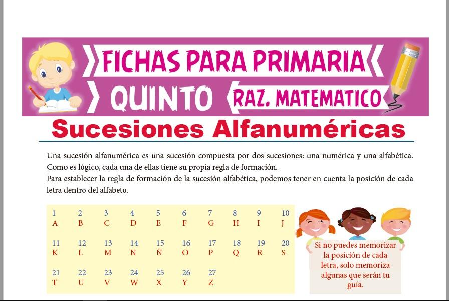Ficha de Práctica de Sucesiones Alfanuméricas para Quinto Grado de Primaria