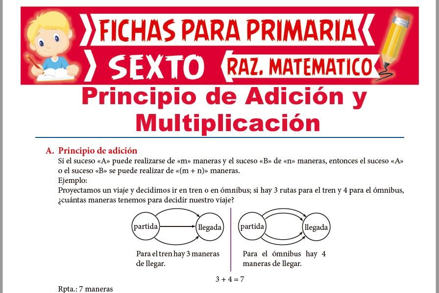 Ficha de Principio de Adición y Principio de Multiplicación para Sexto de Primaria