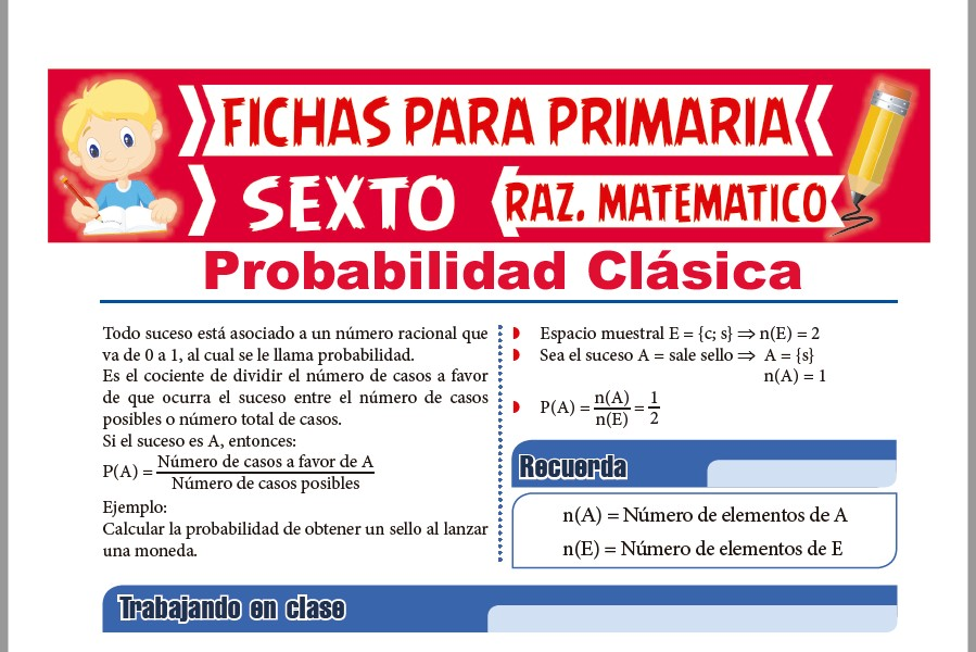 Ficha de Probabilidad Clásica para Sexto de Primaria