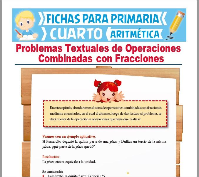 Ficha de Problemas Textuales de Fracciones para Cuarto Grado de Primaria