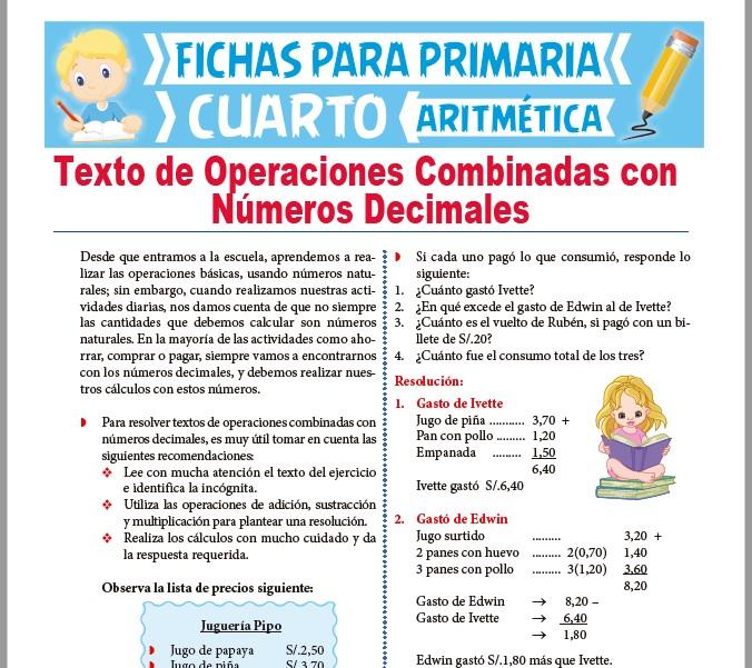 Ficha de Problemas Textuales de Números Decimales para Cuarto Grado de Primaria