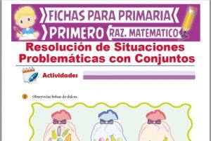 Ficha de Problemas con Conjuntos para Niños para Primer Grado de Primaria