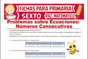 Ficha de Problemas con Números Consecutivos para Sexto de Primaria