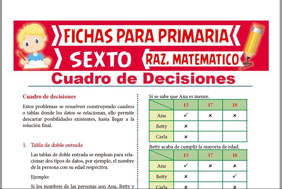 Ficha de Problemas de Cuadro de Decisiones para Sexto de Primaria