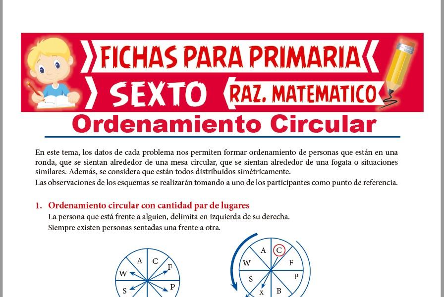 Ficha de Problemas de Ordenamiento Circular para Sexto de Primaria