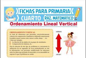 Ficha de Problemas de Ordenamiento Lineal Vertical para Cuarto de Primaria