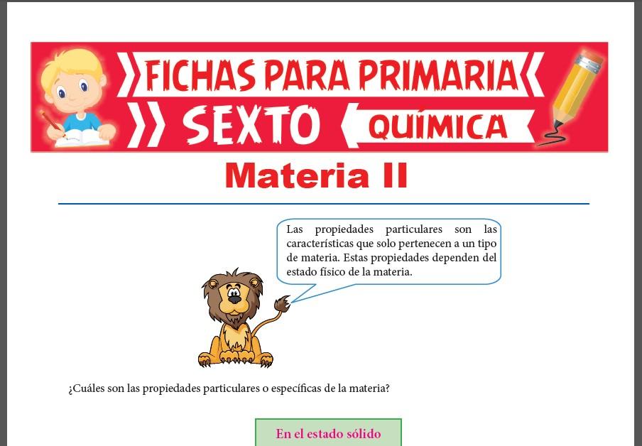 Ficha de Propiedades Particulares de la Materia ejemplos para Sexto Grado de Primaria