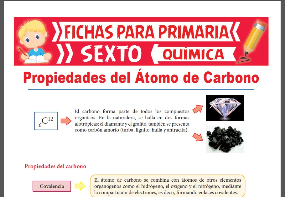 Ficha de Propiedades del Átomo de Carbono para Sexto Grado de Primaria