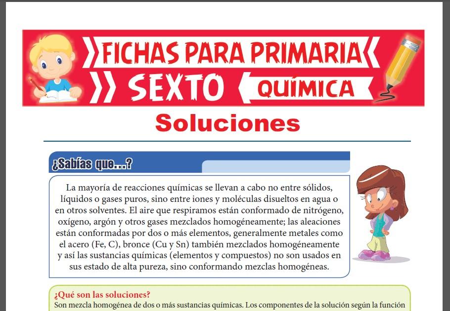 Ficha de Que son las Soluciones para Sexto Grado de Primaria