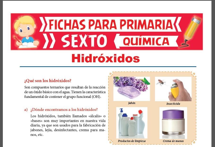 Ficha de Que son los Hidróxidos para Sexto Grado de Primaria