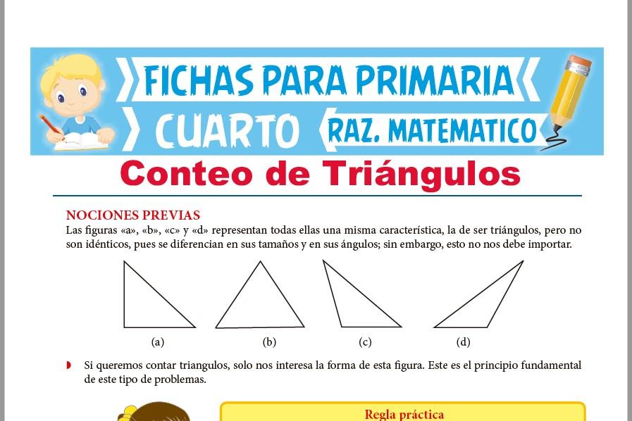Ficha de Regla Práctica de Conteo de Triángulos para Cuarto de Primaria