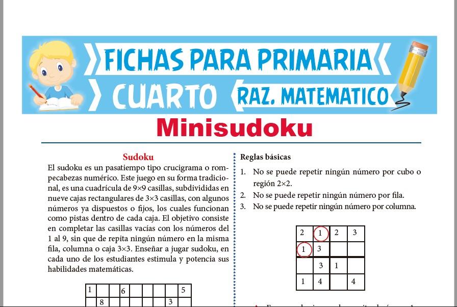 Ficha de Reglas Básicas del Minisudoku para Cuarto de Primaria