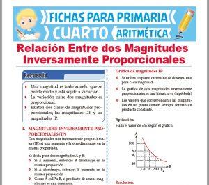 Ficha de Relación entre Magnitudes Inversamente Proporcionales para Cuarto Grado de Primaria