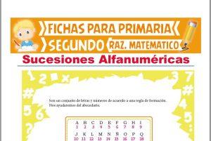 Ficha de Sucesiones Alfanuméricas para Segundo Grado de Primaria