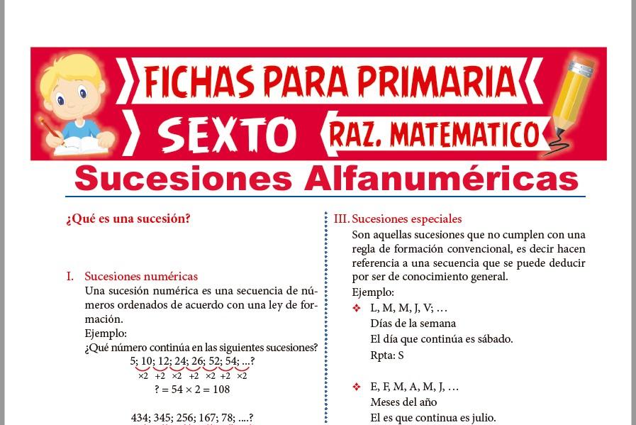 Ficha de Sucesiones Numéricas y Alfabéticas para Sexto de Primaria