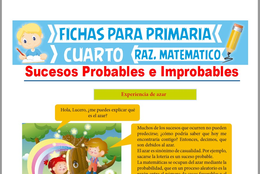 Ficha de Sucesos Probables e Improbables para Cuarto de Primaria