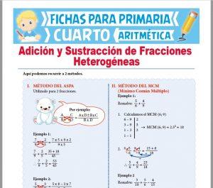 Ficha de Suma y Resta de Fracciones Heterogéneas para Cuarto Grado de Primaria