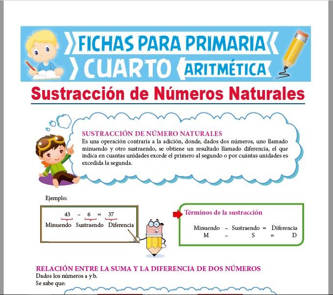 Ficha de Sustracción de Números Naturales para Cuarto Grado de Primaria