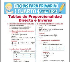 Ficha de Tablas de Proporcionalidad Directa e Inversa para Cuarto Grado de Primaria