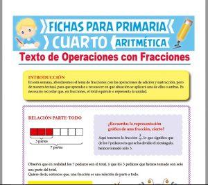 Ficha de Texto de Operaciones con Fracciones para Cuarto Grado de Primaria