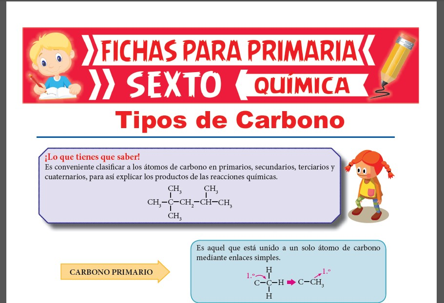 Ficha de Tipos de Carbono para Sexto Grado de Primaria