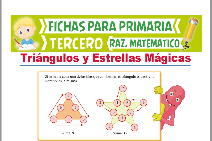 Ficha de Triángulos y Estrellas Mágicas para Tercer Grado de Primaria