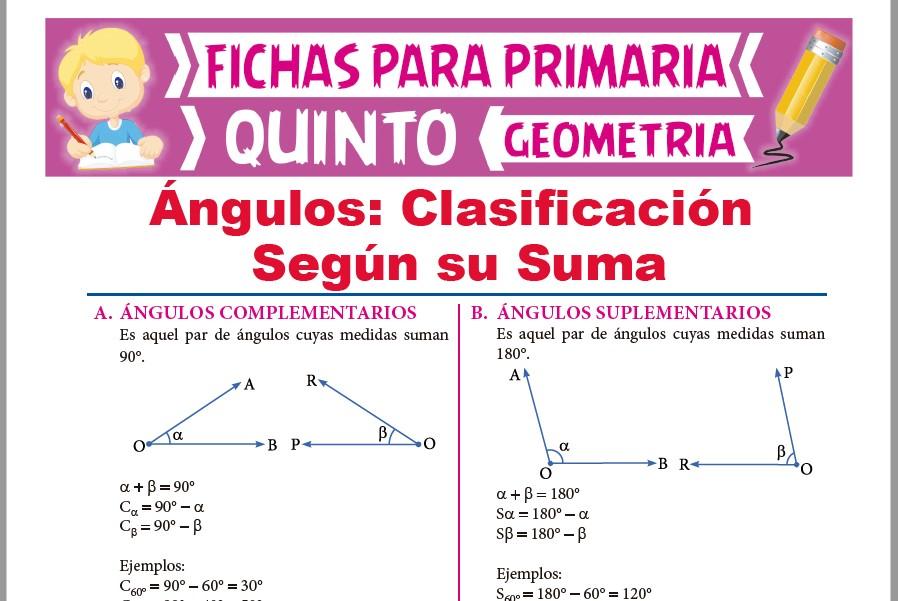 Ficha de Ángulos Complementarios y Suplementarios para Quinto Grado de Primaria